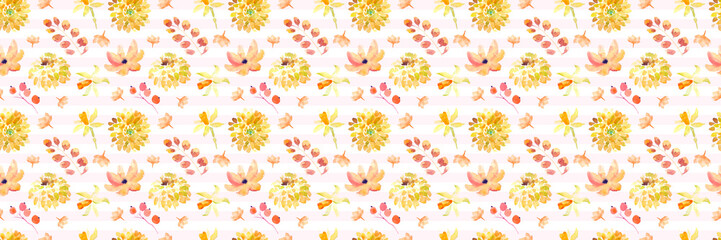 Yellow summer flowers seamless pattern with beautiful orange floral illustrations for creating of wedding card, boho vintage invitation, poster and web banner background.