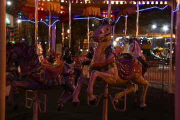 carousel horse evening