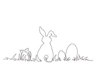Osterhase im Gras sitzend mit Eiern und Blumen gezeichnet
