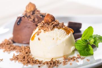 Vanilla and Chocolate Ice Cream Scoops