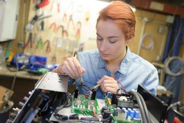 Female technician at work