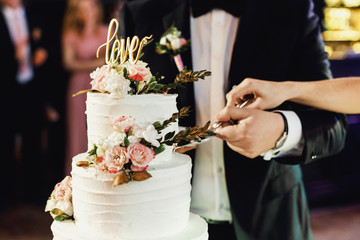 Bride and groom cut the wedding cake together