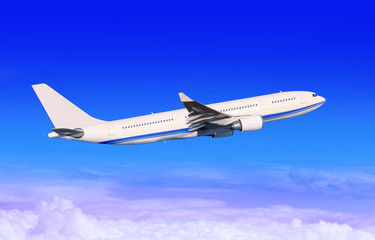 Wall Mural - white passenger aircraft in blue sky