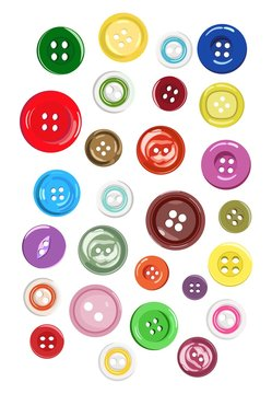 Set of different shapes of buttons for clothes. Vector illustration.