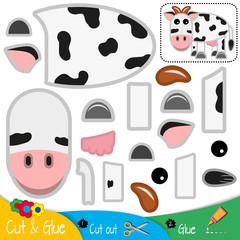 Funny cow. Education paper game for preshool children. Vector illustration.