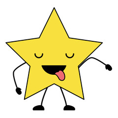 kawaii star showing the tongue over white background, colorful design. vector illustration