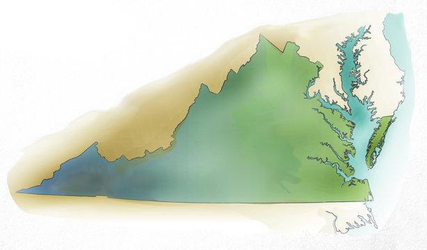 Virginia USA watercolor map