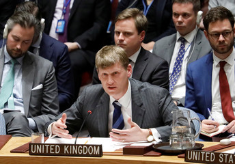 Britain's Deputy U.N. Ambassador Jonathan Allen speaks during a urgent meeting called by Great Britain to the United Nations Security Council to brief members on former spy poisoning at U.N. headquarters in New York