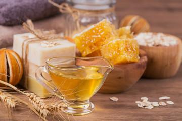 Honeycomb, sea salt, oatmeal and handmade soap with honey