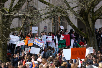 Students participate in the National School Walkout to protest gun violence at Roosevelt High School in Seattle