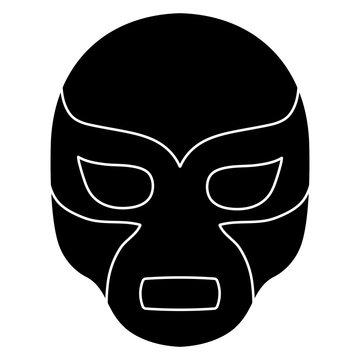 wrestling mask icon over white background, vector illustration