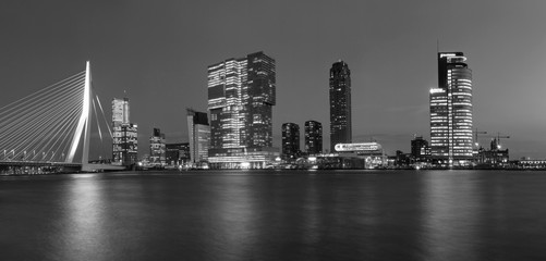 Wall Murals Rotterdam City Landscape, black-and-white panorama - Night view on Erasmus Bridge and district Feijenoord city of Rotterdam, The Netherlands.