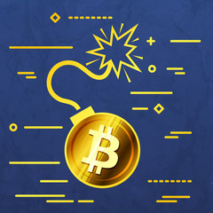 Flat Line design graphic image concept of  bitcoin bomb icon on