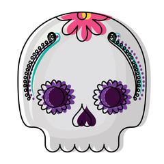sugar skull icon over white background, colorful design. vector illustration