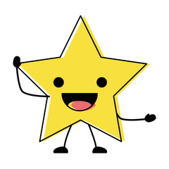 kawaii excited star icon over white background, colorful design. vector illustration