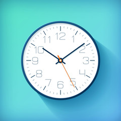 Realistic simple Clock in flat style with numbers, watch on blue and green background. Business illustration for you presentation. Vector design object