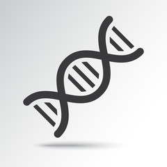 DNA icon with shadow. Black and blue colors. Vector illustration
