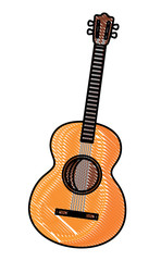 acoustic guitar icon over white background, colorful design. vector illustration