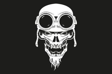 kull in helmet and glasses. vector illustration