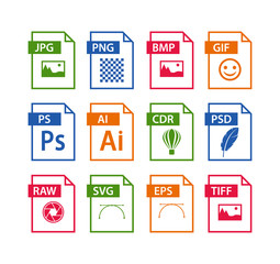 file format icon set. images file type icons. pictures file format icons