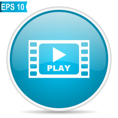 Play video blue round glossy web vector icon in eps 10