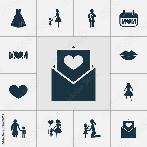 Mothers Day Icon Design Concept Set Of 12 Such Elements As Woman
