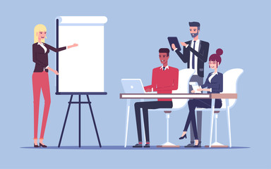 The presentation or the conference in the office in front the group of employees or businessmen vector flat illustration. The businessman makes a presentation and talks with a group of young workers.