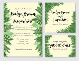 Wedding invite, invitation rsvp thank you card vector floral greenery design: beautiful leaves and branches of the sago palm, foliage herbs. Watercolor cute set