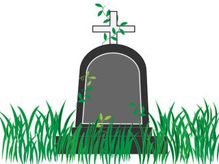 墓が放置せれ雑草で覆われている。