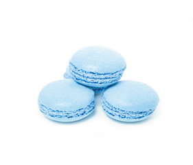 Light blue blueberry traditional french dessert macarons