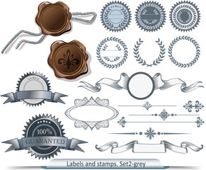 Set of grey vector labels and stamps