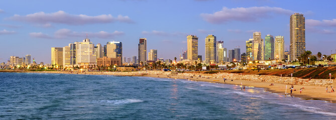 Modern skyline of Tel Aviv city at evening, Israel
