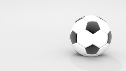 Realistic classic leather soccer ball on white background. Sport and Activity concept. 3D illustration rendering. Blank and copy space.