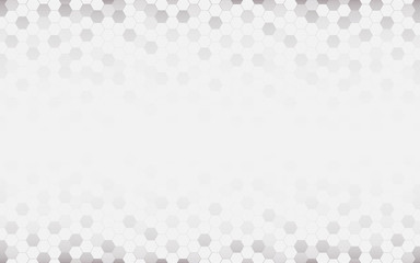 White abstract background with hexagon. Grey abstract. Futuristic Technology and texture concept. Blank and copy space for text.