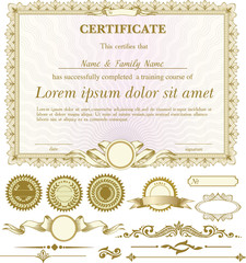 Gold horizontal certificate template with additional design elements