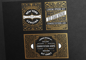 3 Intricate Vintage Labels with Black and Tan Accents