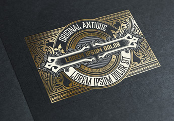Vintage-Style Label with Gold Accents