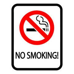 "Simple, rectangular, flat ""no smoking"" sign. Black and red. Isolated on white"