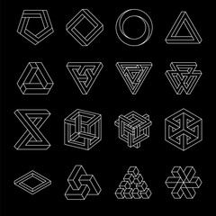 Set of impossible shapes. Optical Illusion. Vector Illustration isolated on white. Sacred geometry. White lines on a black background