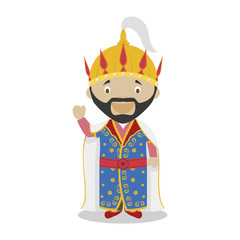 Tamerlane cartoon character. Vector Illustration. Kids History Collection.