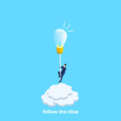a man in a business suit rises to a light bulb symbolizing the idea, an isometric image