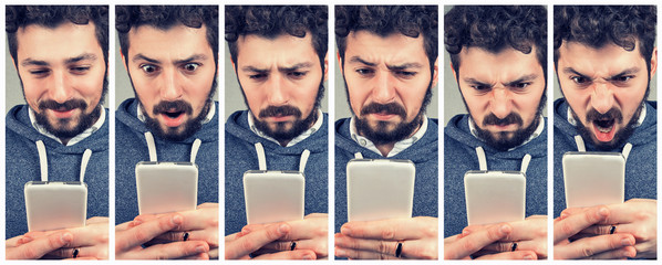 expressive young man using a smartphone