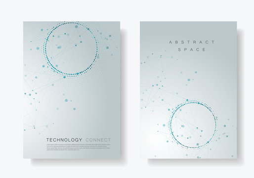 Modern geometric background with connected lines and dots. Business, science, medicine and technology brochure design