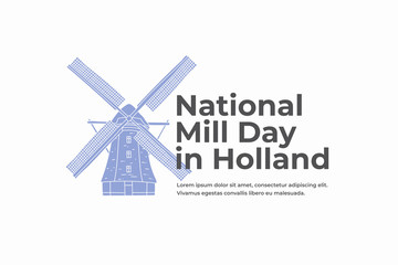 Blue hand drawn Holland windmill. Symbol of Netherlands. National mill day in Holland. Design for tourist catalogs, leaflets, postcards, brochures. Vector illustration.