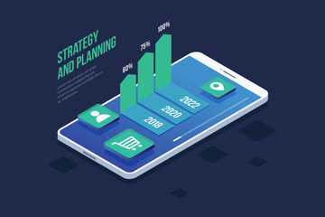 Concept business strategy. Project planning, sales and financial report. Success in business. Smartphone with icons and growth chart. 3d isometric flat design. Colorful infographic vector element.