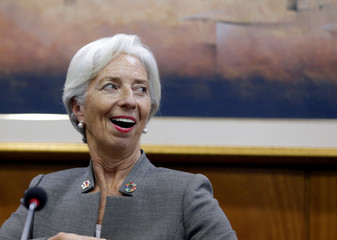 Christine Lagarde, Managing Director of the International Monetary Fund (IMF), attends a news conference at Paraguayan Central Bank in Asuncion