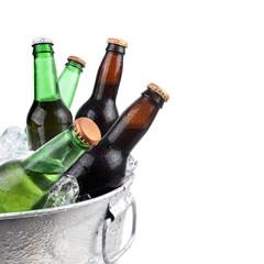 Beer Bottles in Metal Ice Buclet
