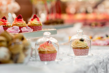 Wedding reception dessert table with delicious decorated cupcakes