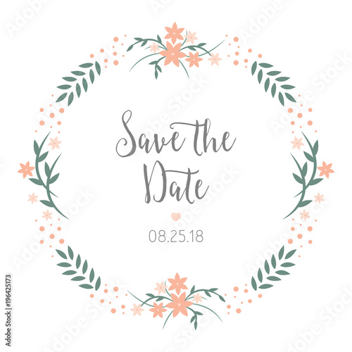 save the date wedding reminder card design round floral wreath