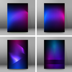 Neon glow light effect Set banners background10